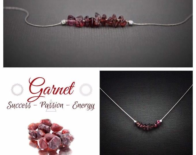 Red Garnet Necklace Grounding Jewelry Protection Necklace January Birthstone