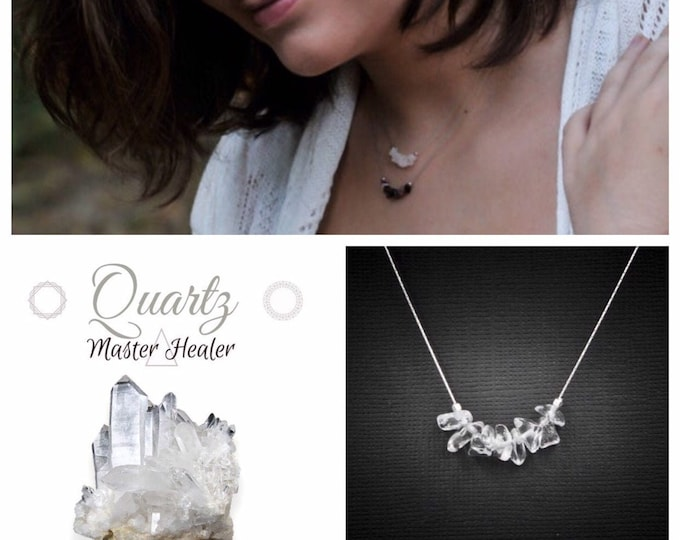 Quartz Necklace, crystal choker, spiritual stones, mindfulness jewelry, anxiety jewelry