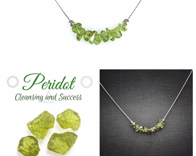Raw Peridot Necklace, August Birthstone, Abundance Jewelry, Prosperity jewelry