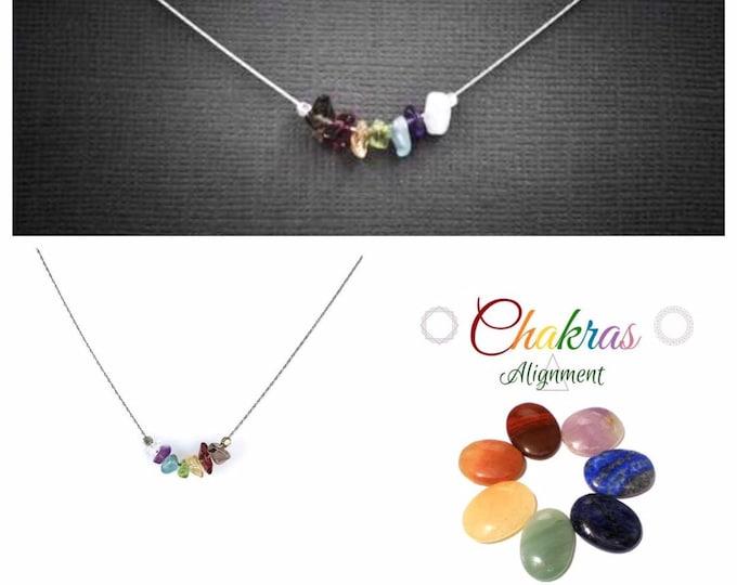 7 Chakra Necklace, Chakra Choker, Mindfulness Gift, Spiritual Stones