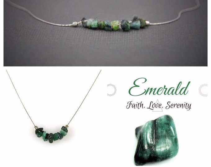 Raw Emerald Necklace for Self Love, Self Care & Heart Chakra, Calming Necklace