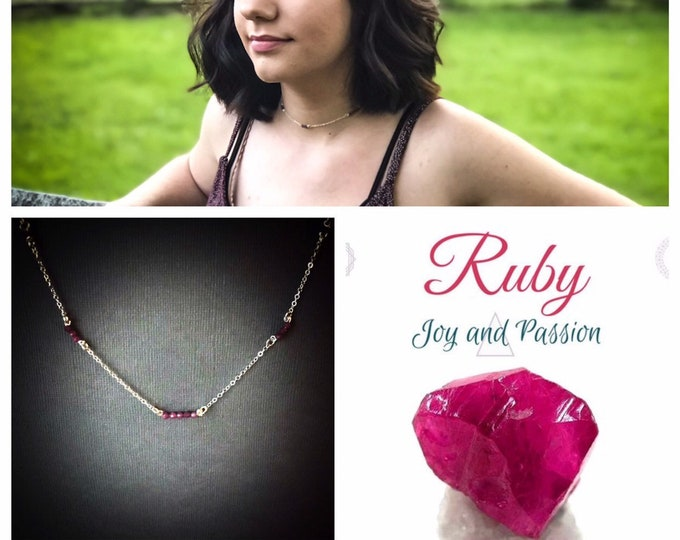 Real Ruby Crystal Satellite Chain dainty silver choker
