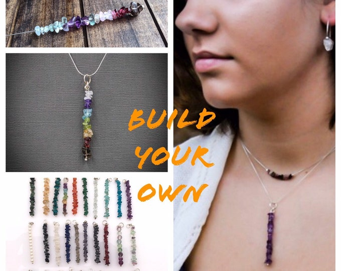 Build your own, customize, Mindfulness Gift, Chakra Pendant gem bar necklace, beaded bar necklace
