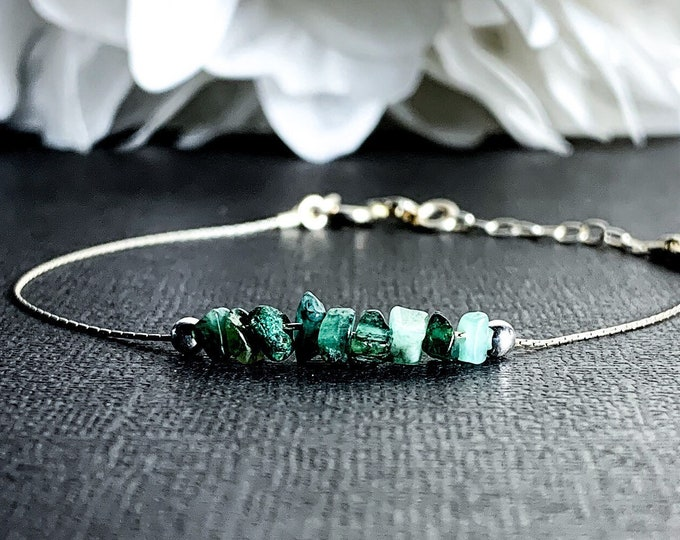 Genuine Emerald Bracelet, Taurus Birthstone Calming Bracelet, Anxiety Healing Raw Crystals