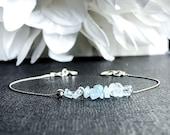 Raw Aquamarine Bracelet, Calming Bracelet, Stress Bracelet, March Birthstone Ankle Bracelet