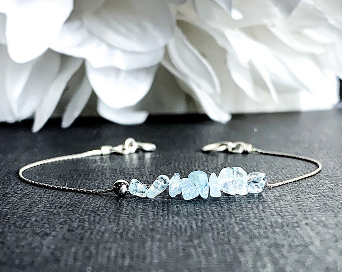 Raw Aquamarine Bracelet, Calming Bracelet, Stress Bracelet, March Birthstone Ankle Bracelet