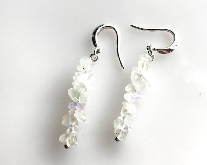 Raw Rainbow Moonstone Earrings, Fertility Stone Crystal Earrings, Dainty Dangle White Earrings