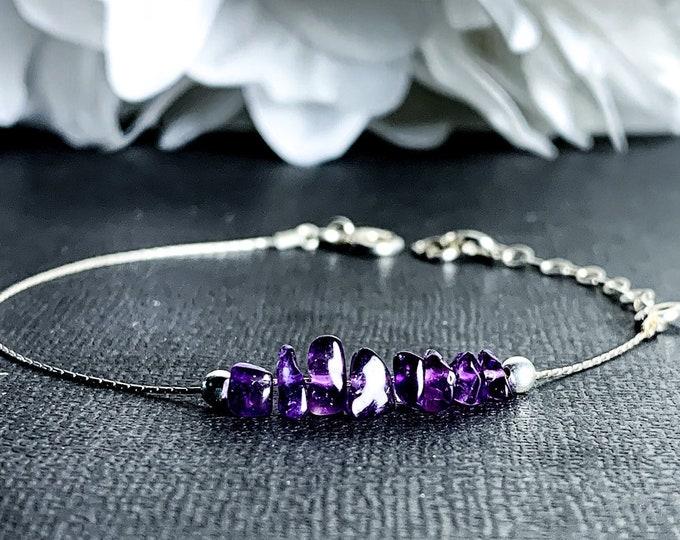 Amethyst Dainty Bracelet February Aquarius Birthstone Raw Stone Jewelry