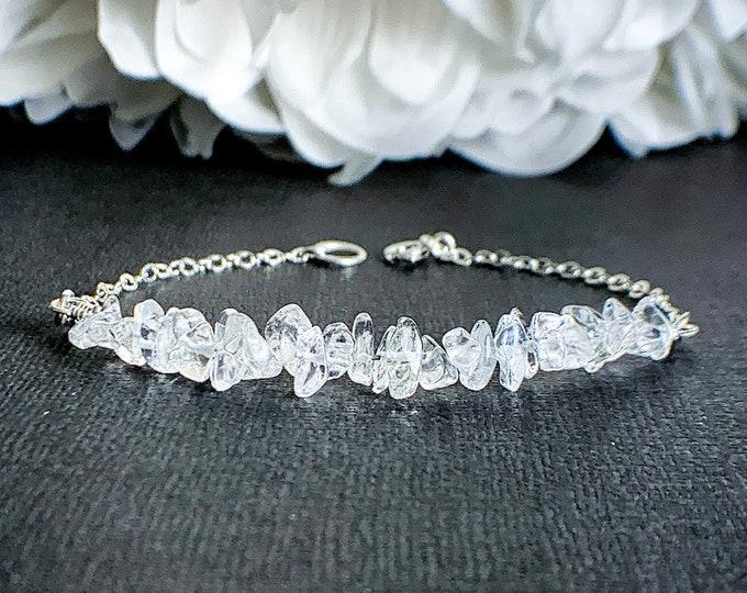 Raw Clear Quartz Crystal Bracelet, Healing Crystal Anxiety Bracelet, EMF Protection Energy Bracelet