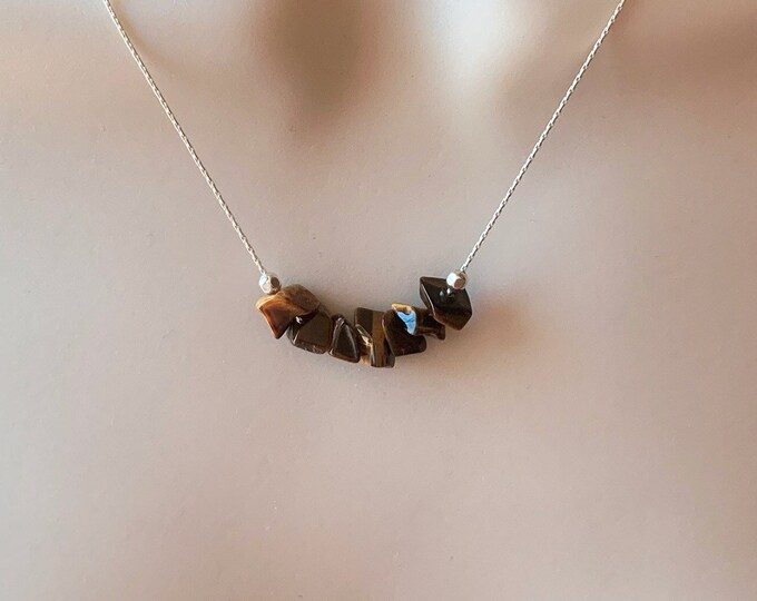 Tiger Eye Necklace Protection Amulet, Layering Necklace, Tigers Eye Stone Necklace