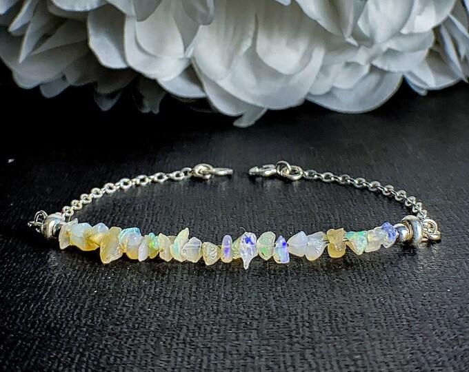 Raw Opal Silver Bracelet, Delicate Ethiopian Opal Jewelry