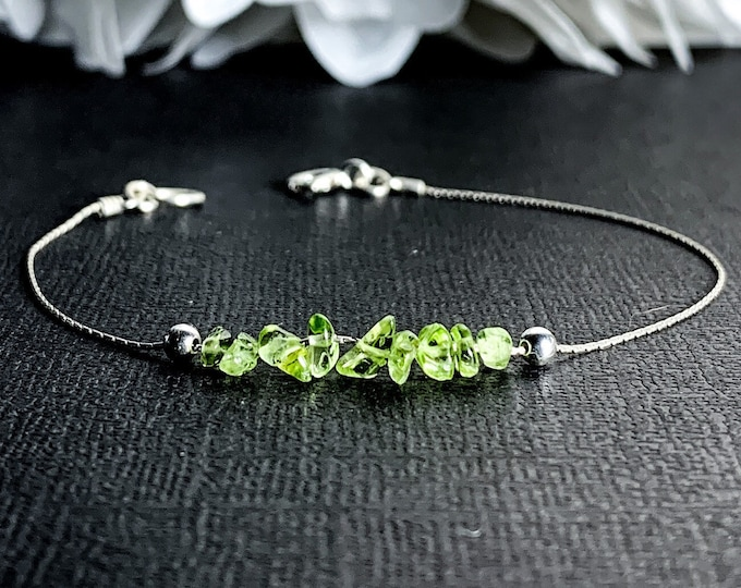 Raw Peridot Bracelet or anklet bracelet, Good luck talisman jewelry, Green Peridot crystal gemstones Anklet, Sterling Silver birthstone gift