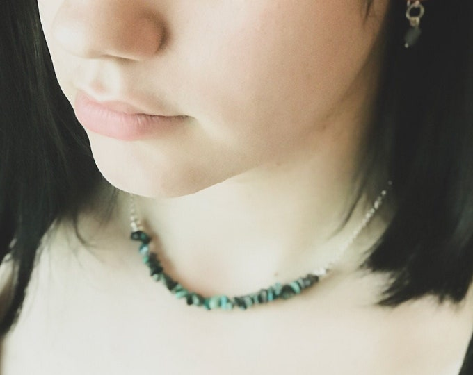 Raw Emerald Heart Chakra Necklace Rough Emerald Birthstone Healing Crystals Choker Necklace