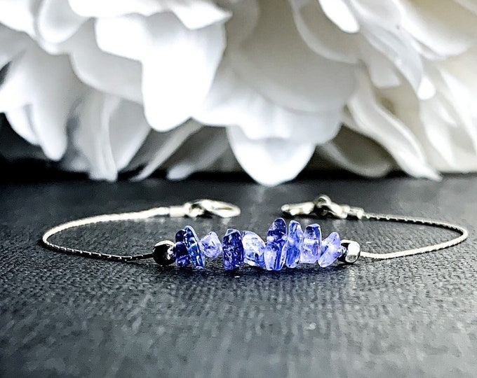 Raw Tanzanite Bracelet Dainty Anklet, December Birthstone Tanzanite Crystal, aura cleansing