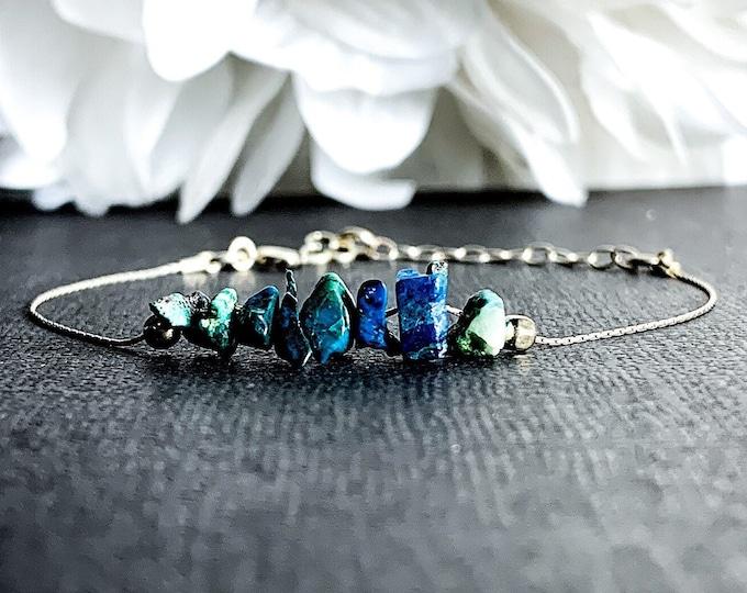 Raw Chrysocolla Bracelet, Peace Bracelet, Motivation Bracelet, Anxiety Bracelet