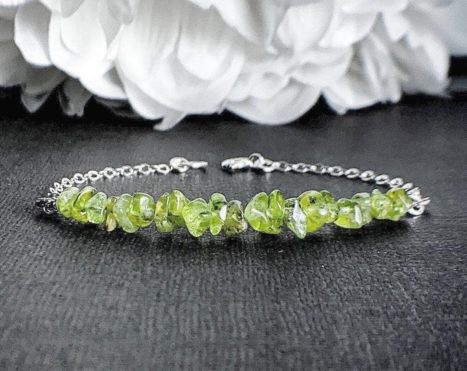 Pretty Peridot Bracelet for August birthday Leo birthstone, Green crystal Good Luck Bracelet Prosperity Jewelry,reduce stress restore energy