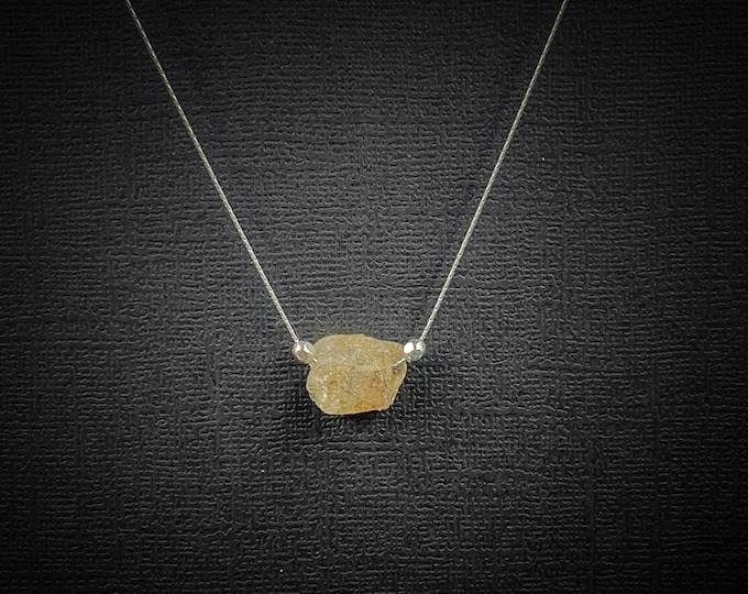 Yellow Topaz Raw Stone Pendant Necklace, Raw Topaz Crystal November Birthstone Simple Necklace