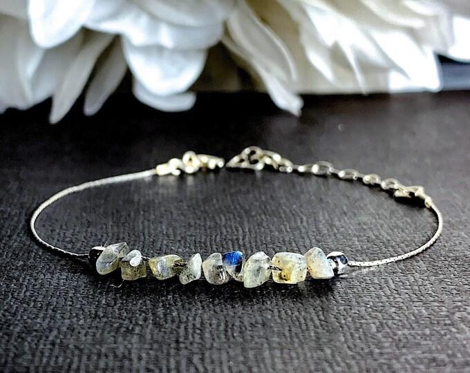 New Beginnings Labradorite Bracelet, Positive Energy Calming Bracelet Silver Anklet