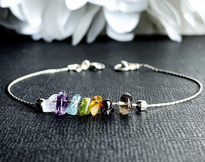 7 Chakra Ankle Bracelet Raw Healing Crystals Dainty Seven Chakras Silver Anklet