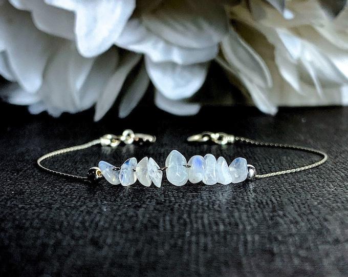 Rainbow Moonstone Bracelet Sterling Silver Anklet Crystal Bracelet