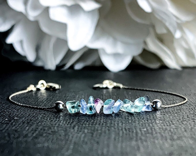 Rainbow Fluorite anxiety Bracelet, empath protection, dainty anklet, Empath Jewelry