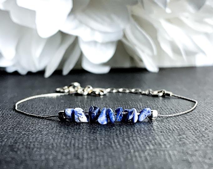 Raw Sodalite Bracelet, Calming Bracelet, Anxiety Bracelet, Stress Bracelet