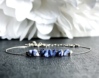 Sodalite Anklet Healing Gift for Her, Positive Energy gemstone, Sodalite bracelet anxiety & stress relief, Crystal Ankle Jewelry