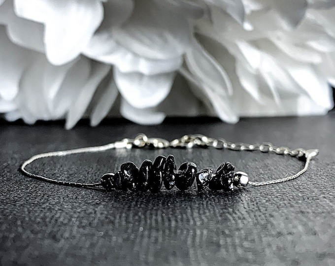 Black Spinel Bracelet Dainty Anklet, Anxiety Jewelry, Layering Bracelet, Energy Bracelet