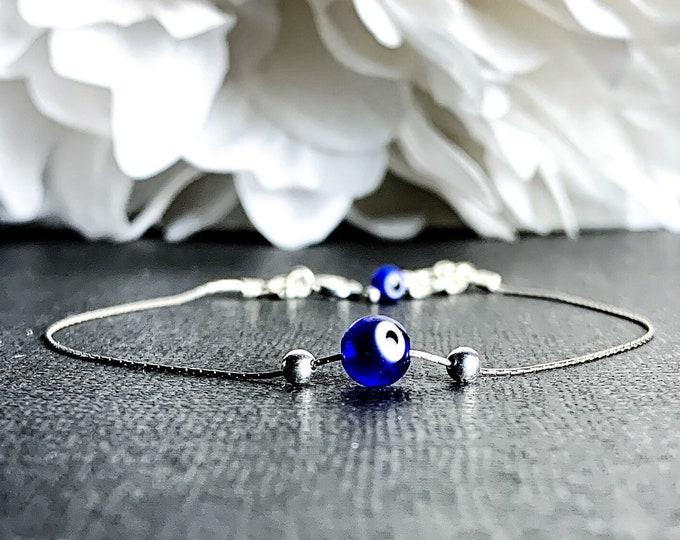 Evil Eye Ankle Bracelet Dainty Bead Bracelet Silver Anklet