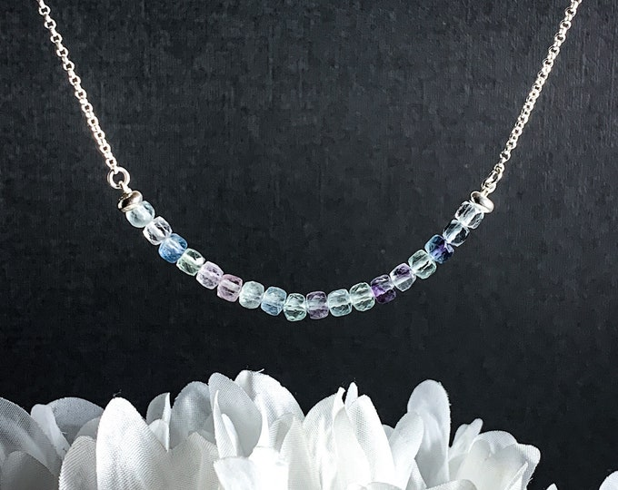 Fluorite Necklace Cubic Fluorite Sterling Silver Crystal Choker, Pisces Birthstone Rainbow Fluorite Silver Chain Mother in Law Gift Gifts
