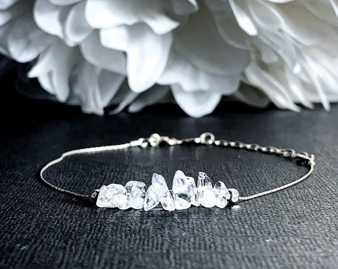 Raw Quartz Energy Bracelet, Positive Energy Dainty Anklet, EMF Protection, Balance Bracelet