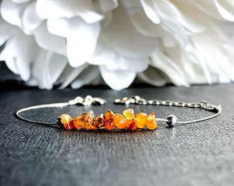Carnelian Ankle Bracelet Anklet, Raw Carnelian bracelet for women Carnelian jewelry,Orange crystals August birthstone Virgo gemstone jewelry
