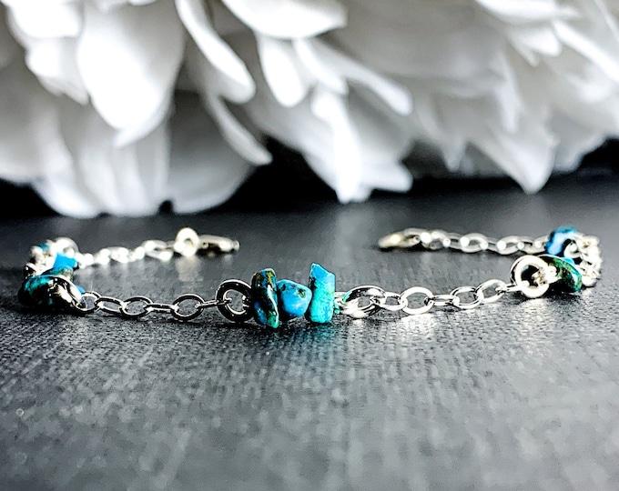 Turquoise Satellite Bracelet, Sterling Silver Anklet