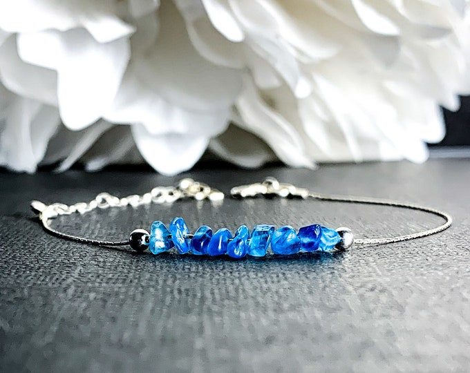 Blue Apatite Energy Bracelet Weight loss Gift, Motivation Bracelet, dainty anklet