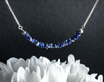 Sodalite Necklace Raw Crystals Choker Necklace Raw Sodalite Throat Chakra Blue Statement Necklace Silver Gemstone Necklace