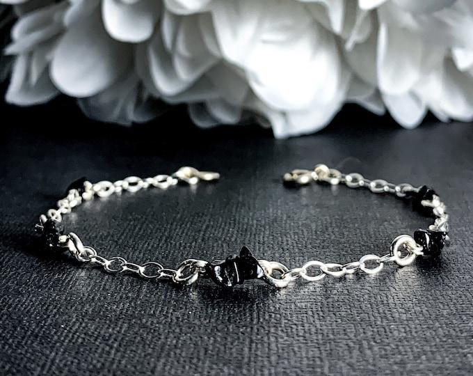 Black Spinel Ankle Bracelet Sterling Silver Satellite Chain