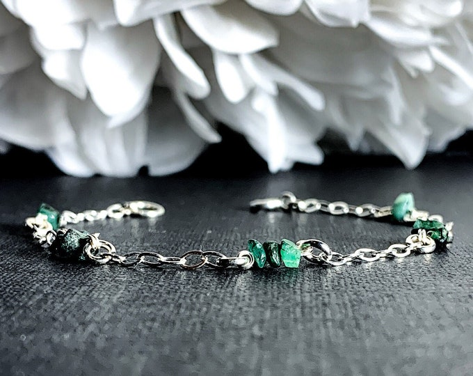 Raw Emerald Crystal Birthstone Bracelet Station Bracelet