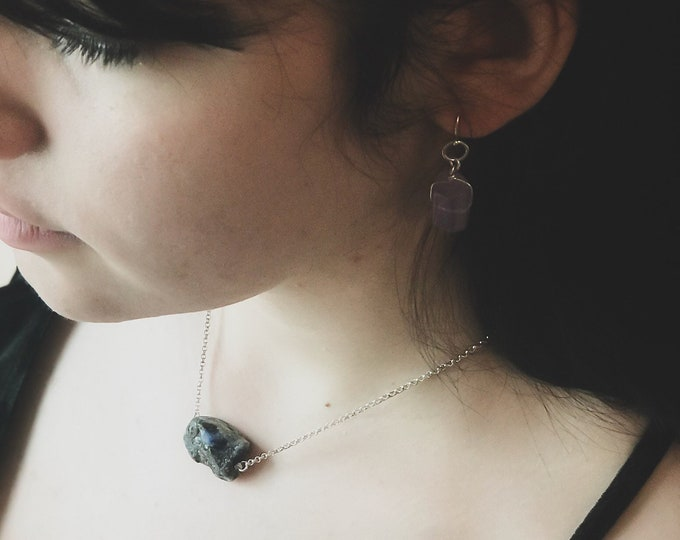 Rough Sodalite Raw Blue Necklace Throat Chakra Mindfulness Gift