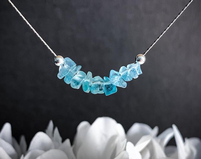 Blue Apatite Necklace, throat chakra crystal choker, Encouragement Gift, Mindfulness Jewelry