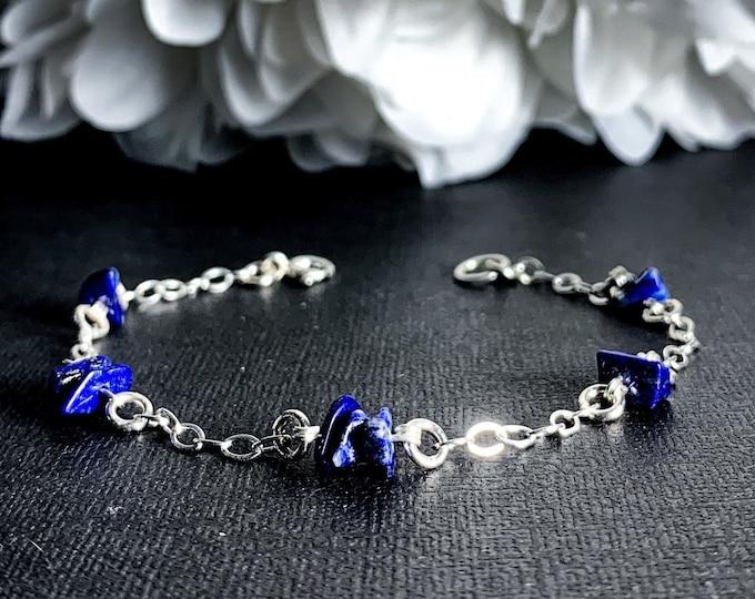 Lapis Lazuli Crystal Bracelet Satellite Chain Anklet Sterling Silver