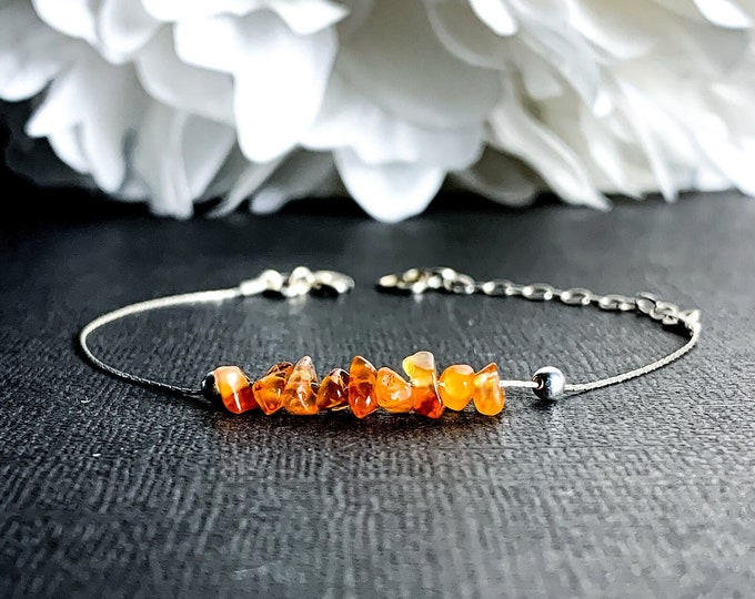 Raw Carnelian Bracelet made with sterling silver chain for emotional support & courage, worn as delicate bracelet or Ankle Bracelet - anklet