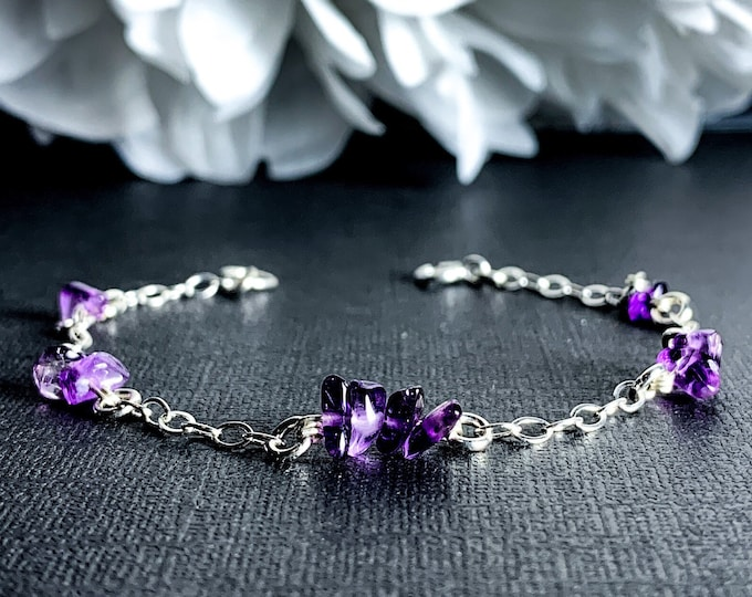 Silver Amethyst Ankle Bracelet Calming Anxiety Crystal Adjustable Satellite Chain