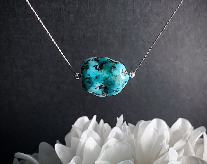 Genuine Raw Turquoise Nugget Stone Pendant Necklace