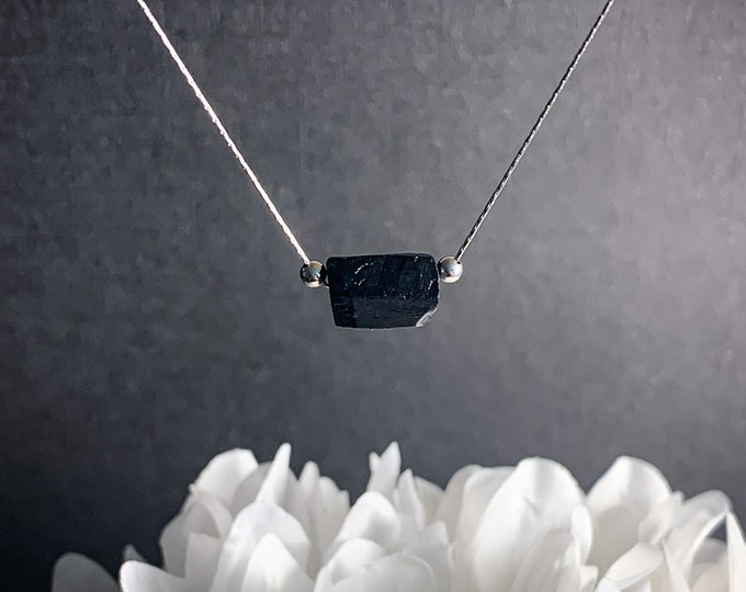 Black Tourmaline Necklace Raw Crystal Nugget Raw Tourmaline Silver Chain Choker Gemstone Necklace Gift for Her