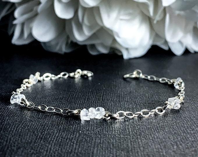 Clear Quartz Crystal Bracelet, Silver Anklet Chain Bracelet, Protective Ankle Bracelet, Satellite Chain