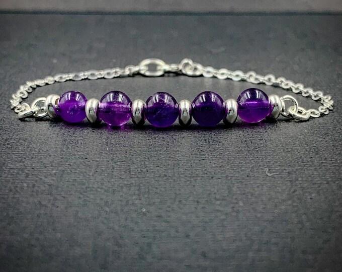 Genuine Amethyst Silver and Amethyst Bracelet Birthstone Jewelry
