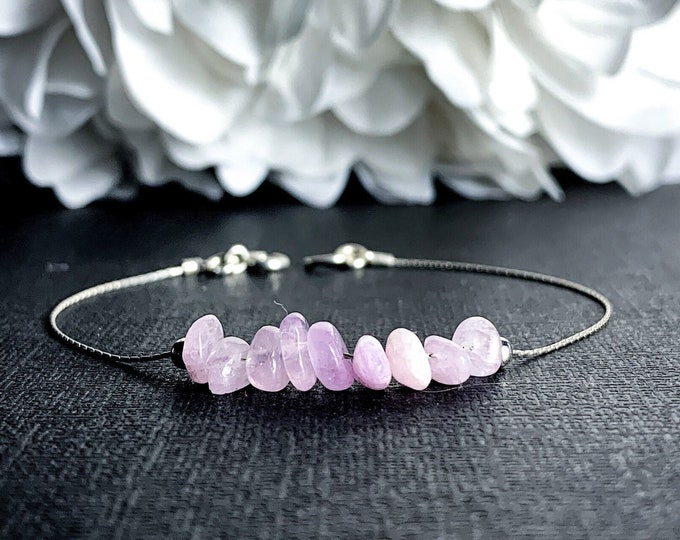 Kunzite Crystal Bracelet Ankle Bracelet Silver Chain