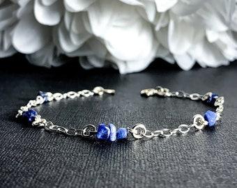 Sodalite Bracelet Sterling Silver Satellite Chain Anklet