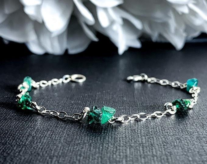 Green Aventurine Bracelet Satellite Chain Sterling Silver