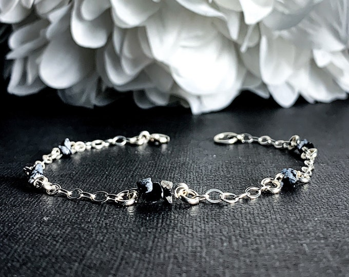 Snowflake Obsidian Black Obsidian Crystal Bracelet